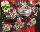 Glitter Skull Bag Crossbody Sugar Skull Purse Glitzy Confetti- Dia De Los Muertos Bag- Goth Artisan Handmade Skeleton Beaded Red Fringe WOW!