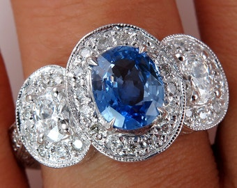 """Natural """"NO HEAT """" Vintage 2.28ct Blue Sapphire and Diamond Engagement Anniversary White Gold Ring"""