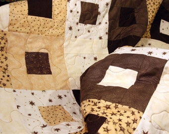 SALE Starry Patchwork Quilt, Twin / Double,  Handmade by PingWynny