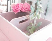 Vintage wood  carrier pale light pink minty green wood shabby chic cottage prairie