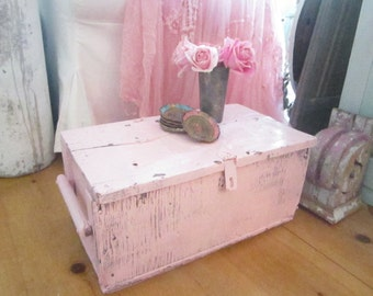 Vintage wood box pink wood chippy shabby chic cottage chic