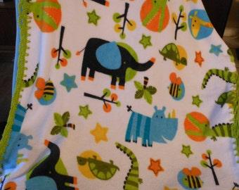Jungle Animals Fleece Baby Blanket