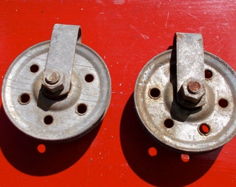 Set of two metal PULLEYS price is for both multi purpose  wheels repurpose industrial rope wire