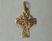 Vintage 9k GOLD Dublin Celtic Decorative Cross Pendant