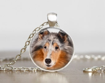 Rough Collie Photo Pendant Necklace or Keychain