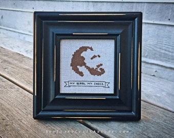 My Beard My Choice - framed cross stitch