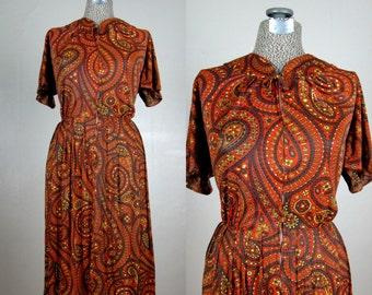 Vintage 1950s Nylon Jersey Dress 50s Autumn Colored Paisley Dress by Carol Brent Size XL 14