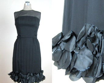 Vintage Early 60s 1960s Black Cocktail Dress with Ruffled Petal Hem and Illusion Neckline size 8 M