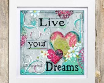 Girls Inspirational Wall Art ~ Children's Wall Art ~ Tween Wall Art ~ Dreams Decor ~ Bedroom Art Print ~ Funky ~ Boho Hippie Wall Art