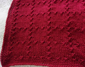 Hand knit baby blanket Elegant pattern with hand crocheted border - Autumn Red - made to order