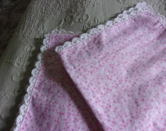Receiving blanket - cotton flannel with hand crocheted cotton shell border
