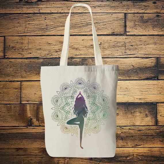 MANDALA YOGA BAG- Tote bag - Yoga bag - Mandala bag -Yoga tee - Hippie bag - Screen print - Back to school - Tote - Namaste - Bag for Life