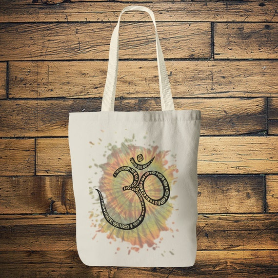 TIEDYE OM TOTE - Yoga bag - Mandala - Hippie bag - Screen print - Back to school - Yoga - Tote Bag - Bag for Life - Boho - Student