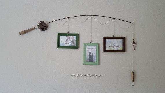 Fishing Pole Picture Frame - Brown Pole - 3 - 4 in x 6 in Picture Frames - Medium Foliage, Mint Julep, Dark Chocolate
