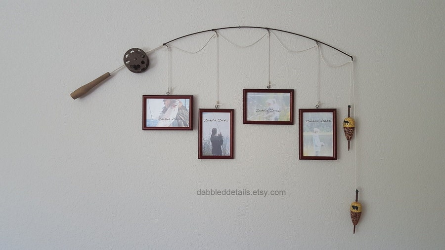 Fishing pole picture frame brown pole 4 4 in x 6 in for Fishing picture frame