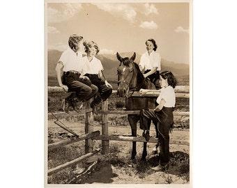 Vintage 1940s Camp Photo, Horse Photo, Colorado Mountains, San Luis Ranch, Colorado Springs Photo, Stewart's Commercial Photographers, Sepia