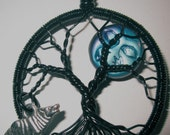 Czech Glass Man in the Moon & the Howling Wolf Antiqued Copper Tree of Life, Tree with Howling Wolf