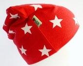 Beanie Hat - Red - White Stars - Jersey