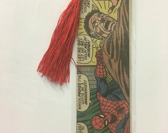 Upcycled Spiderman Comic Book Bookmark