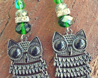 The Mighty Owl - Crystal Green Owl Earrings