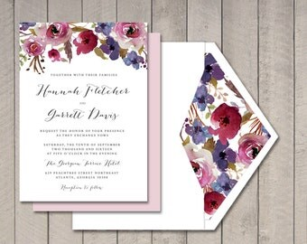 Luxe Floral Wedding Invitation (Printable) by Vintage Sweet