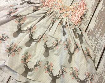 Girl deer dress, girl deer party, deer party dress, girls deer dress, girls woodland party dress, woodlands party