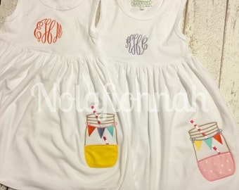 Mason jar monogrammed dress, pink lemonade, lemonade party, pink lemonade party, mason jar dress, lemonade dress, pink lemonade dress