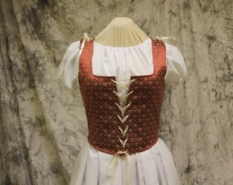 Brick Red and Gold Renaissance Costume-Halloween Costume-Medieval Dress-LARP-Ren Fair-Steampunk-SCA-Adult Costume-Fantasy Dress-Item #213