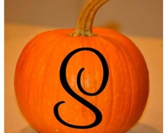FREE SHIPPING Pumpkin Initial Letter Vinyl Decal Halloween