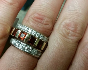 Beautiful one of a kind Designer Eternity Ring 3.75 carats of Natural Garnets in 14KT yellow Gold Diamond Band  wedding  Ring Engagment Ring