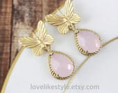 Butterfly with Pink Glass Stone Earrings, Bridal Earrings, Bridesmaid Earrings, Pink  Earrings // ER-33