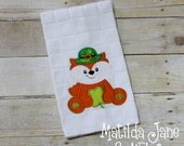 St. Patricks Day Fox with Shamrock Applique Kitchen Towel, Home Decor...St. Patty's Day Appliqued Kitchen Towel