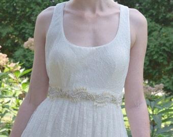 Ivory Bridal Sash, Crystal Bridal Belt, Beaded Bridal Sash,  Leaf Belt, Couture Bridal Sash-JOY
