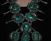 RESERVED For F Phenominal Blue Diamond Vintage Turquoise Navajo Sterling Silver Squash Blossom Necklace Cir.1960s 309 Grams