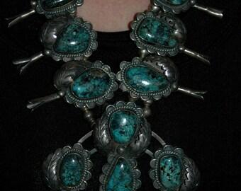 Phenominal Blue Diamond Vintage Turquoise Navajo Sterling Silver Squash Blossom Necklace Cir.1960s 309 Grams