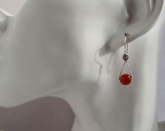 Burnt Orange Red Carnelian Sterling Silver Earrings