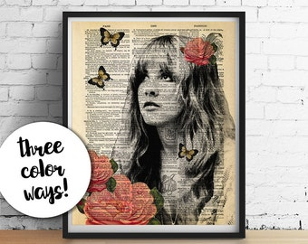 Stevie Nicks Print, GYPSY Roses Fleetwood Mac ORIGINAL Art, Dictionary Art Print Poster, Boho Home Decor Wedding Gifts GICLEE 5x7 8x10 11x14