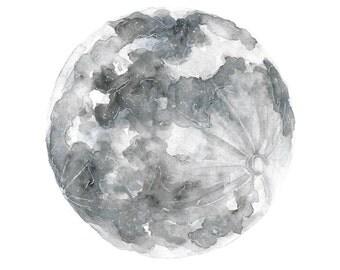 moon art, boho art, moon, watercolor moon painting, boho decor, moon decor, minimalist art, mixed media art, original watercolor, 8X10