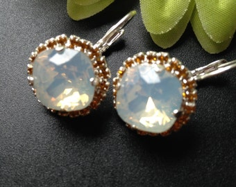 White Opal Swarovski Earrings,Rhinestone  Lever Back earrings,