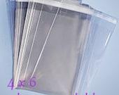 100 4x6 Clear Cellophane Bags Resealable Cello Bags Resealable Clear Bags Acid Free Lignin Free Food Safe