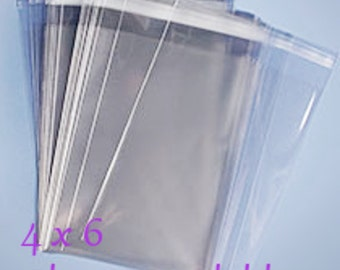100 4x6 Clear Cellophane Bags Resealable Cello Bags Resealable Clear Bags Acid Free Lignin Free Food Safe
