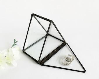 Glass Box. Glass Display Box. Small Jewelry Box. Ring Bearer Wedding Ring Box. Small Triangular Prism.