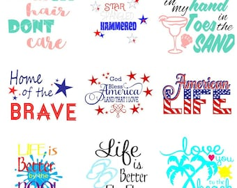 Summer 9 SVG Set - Summer SVG - Beach - 4th of July - Patriotic - Vacation - Flip Flops - Sand - Anchor - Red White and Blue -Cricut