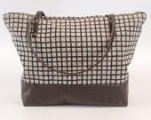 SALE! Leather Bottom Weekender Tote Bag Polka Dot Screen Print Natural Linen  Brown Leather Handles
