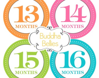 Baby Month Stickers - 2nd Year Set - Monthly Baby Stickers - 13 to 24 months - First Birthday Gift - Baby Decals - Baby Girl Month Stickers