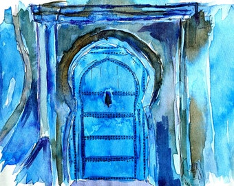 Chefchaouen Morocco Blue Door - Limited Edition Fine Art Print - Original Painting available