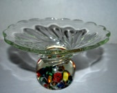 Sale art glass bowl with paper weight bottom  vintage glass