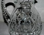 sale Vintage crystal  hand cut large pitcher heavy crystal palm  elegant crystal ice tea pitcher water pitcher sangria pitcher