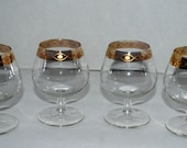 Vintage glass cordials with gold border  vintage barware  set of 4