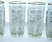 Sale Vintage glasses   heavily etched glasses gold rim  hi ball glasses set of 4